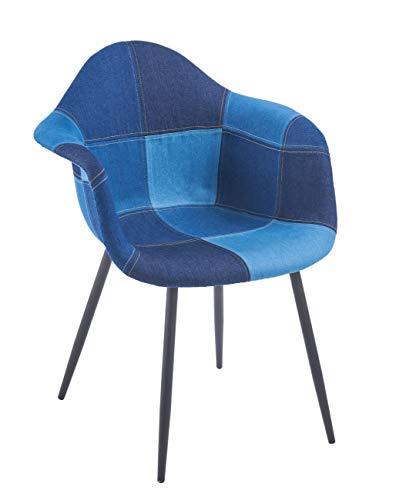 ts-ideen Design Klassiker Patchwork Jeans Sessel Retro 50er Jahre Barstuhl Wohnzimmer Küchen Stuhl Esszimmer Sitz Holz blau