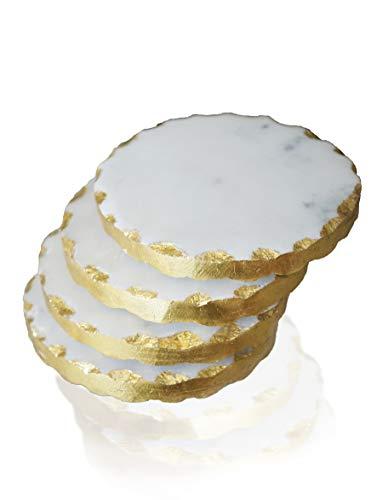 Nikita By Niki® - Sottobicchieri in marmo bianco e grigio, bordo dorato   Set di 4 pezzi, confezione regalo
