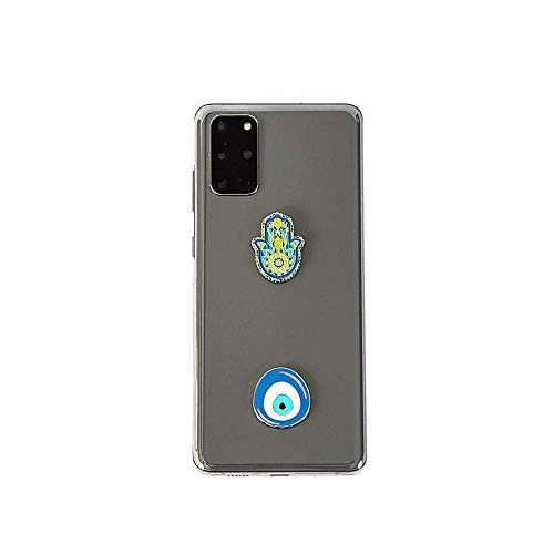 Blue Evil Eye and Hamsa Metal Sticker Charms Set of 2. Decoration for Phone Cases, Laptops Car Interiors. Reusable and Easily Removable. Universal Spiritual Symbols of Protection