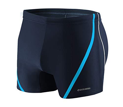 Sesto Senso Maillot de Bain Homme Boxer Trunks Shorts Pantalon Slips Natation de Sport BD 366 L Bleu