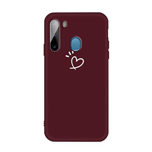 MENGHONGLLI Teléfonos móviles Maletas de Transporte Esmerilado CandyColored Ultrafino de TPU teléfono (Color : Wine Red)