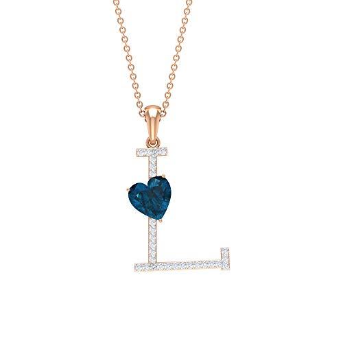 Rosec Jewels - L Alphabet Pendant, D-VSSI Moissanite Necklace, Heart Pendant, 1.5 CT London Blue Topaz Pendant (AAA Quality), 10K Rose Gold