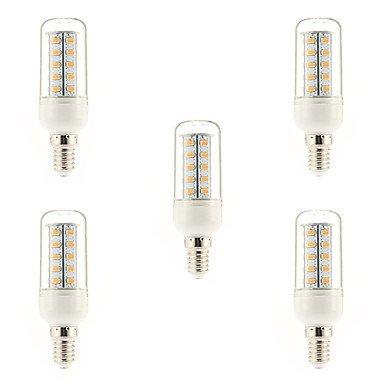 WELSUN Ampoule Maïs Blanc Chaud 5 pièces E14 7 W 36 SMD 5730 650 LM 3000-3500 K AC 100-240 V