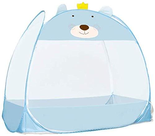 Mosquitero plegable plegable para cuna de bebé, toldo de seguridad, azul catoon oso, cubierta portátil para bebés y niños - 13070 cm