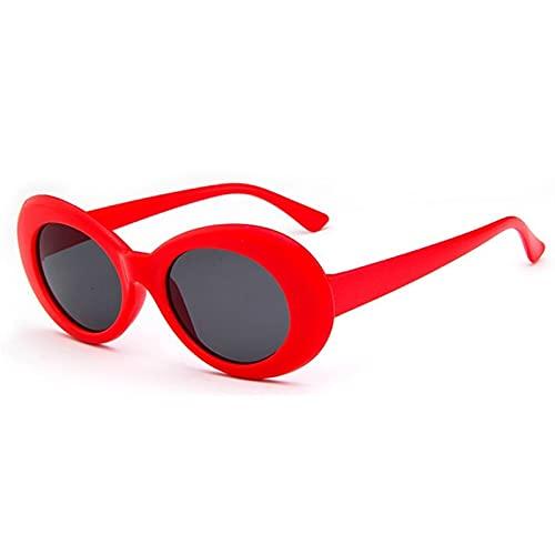 ZHATAOZH 2021 Gafas Gafas Oval Gafas de Sol Señoras Trendy Vintage Retro Gafas de Sol Mujeres Blanco Gafas Negras UV Sol para Caras pequeñas Protección UV Baratas Hombres (Lenses Color : Red)