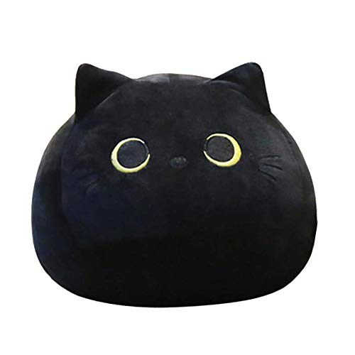 "Almohadas de Juguete de Felpa de Gato Negro - Animal de Peluche de Gato Lindo Creativo de 12.6"", muñeco de Peluche de Gato Kawaii de Juguete Anime Cat Soft Throw Pillow Navidad cumpleaños para niños"