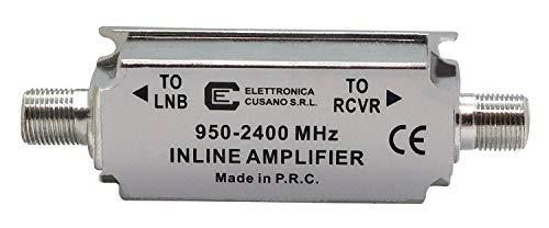 Elettronica Cusano, Amplificatore di Linea per Antenna Satellitare, Guadagno 24dB, 950-2400 Mhz, 1, Grigio