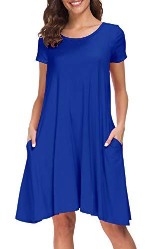 Afibi Women's Casual Loose Pockets Dress Casual Swing T-Shirt Dresses (Small, Blue)