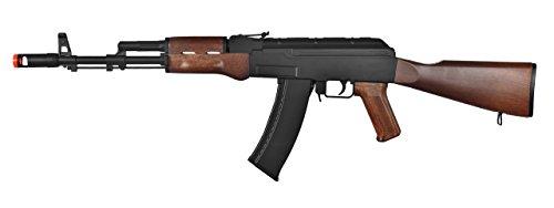 professional AK-47 AEG Semi / Fully Automatic Electric Gun for High Performance Magazine FPS 290 Airsoft Rifle (Black / Wood)