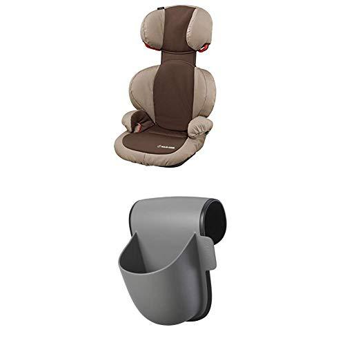 Maxi-Cosi Rodi SPS Kindersitz, mitwachsender Gruppe 2/3 Autositz (15-36 kg), nutzbar ab 3,5 bis 12 Jahre, oak brown + Maxi-Cosi Pocket Becherhalter, grau