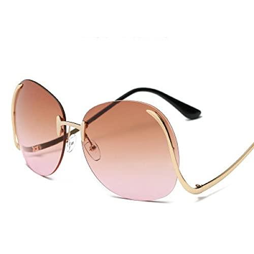 Secuos Moda Gafas De Sol De Gran Tamaño con Diseño De Marca para Mujer, Montura De Lentes Transparentes para El Océano, Gafas De Sol De Moda para Mujer, Gafas De Sol Uv400, Teapink