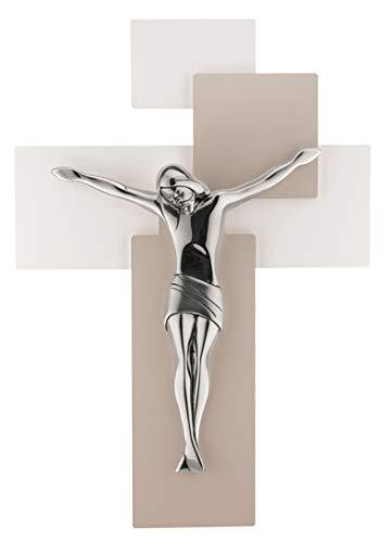 CROCIFISSO Parete Moderno 17X12 Croce Tortora Bianco Cristo Cromo me12101n