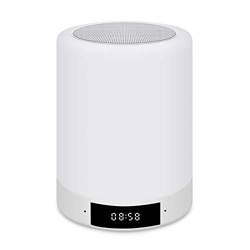 Akin 5 en 1 LED Bluetooth altavoz apoyo manos libres control táctil colorido regulable luz nocturna LED con despertador reloj MP3 reproductor de música radio FM hasta 41 horas en espera