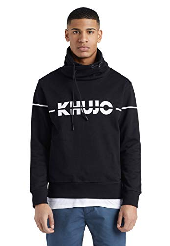 khujo Herren Sweatshirt NARIC Logo Baumwolle Tubekragen Kordelzug Logo-Print Eingrifftaschen