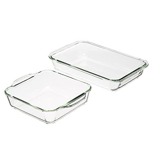 Amazon Basics Oven Safe Glass Baking Dish Set, Set of 2, Rectangular 3L and Square 2L