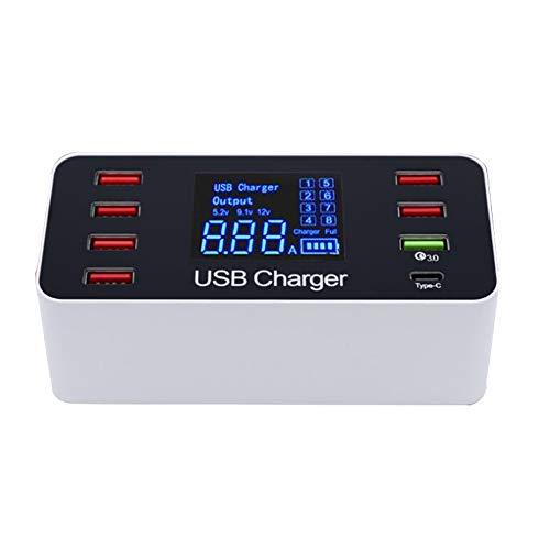 Goodtimes28 Adaptateur d'alimentation Rapide USB QC3.0 Type C 8 Ports 40 W, ABS, US Plug