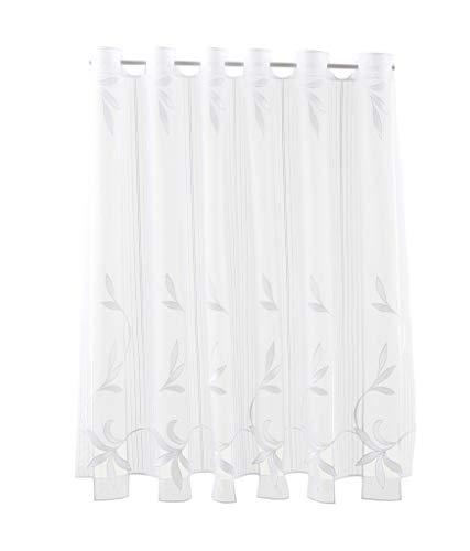 florentina Scheibengardine Lochstickerei 90 cm hoch | Breite der Gardine durch gekaufte Menge in 15,5 cm Schritten wählbar (Anfertigung nach Maß) | Weiß | Vorhang Küche Wohnzimmer