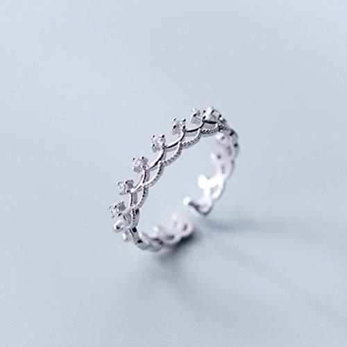S&RL S925 Anillos de Plata Mujer Corea Pequeño Anillo de Corona de Diamante Fresco Anillo de Dedo Índice de Apertura Joyería de Personalidad de Estilo de MujerAnillo de plata S925, apertura ajustada