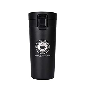 Termo,Termo de Café Matraz de Acero Inoxidable Aislado Diseño a Prueba de Fugas Para Bebidas Frías y Calientes Bebidas té Café Agua 380ML