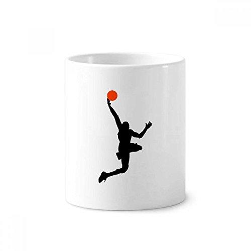 DIYthinker Deportes funcionamiento del baloncesto de la clavada de cerámica titular taza del cepillo de dientes de la pluma blanca Copa 350ml regalo 9,6 cm de alto x diámetro 8.2cm