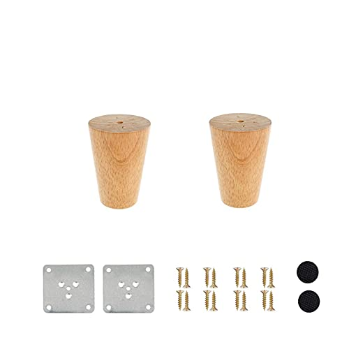 LASHI 2 Pcs Wooden Furniture Legs Height 6-70CM,Tapered Wooden Sofa Legs Cabinet Feet Wood Table TV Legs with Non-slip Mat, Screws & Mounting Plate (Size : 18cm/7.1in)