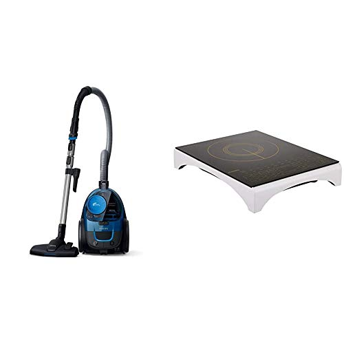 Philips PowerPro FC9352/01 Compact Bagless Vacuum Cleaner (Blue) & Philips Viva Collection HD4938/01 2100-Watt Induction Cooktop with Sensor Touch (Black)