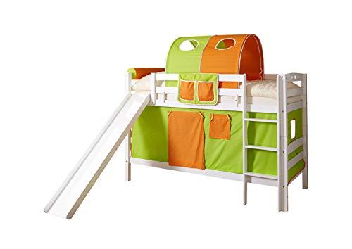 Etagenbett mit Rutsche Doppelbett Lupo Buche massiv Weiss mit Farbauswahl