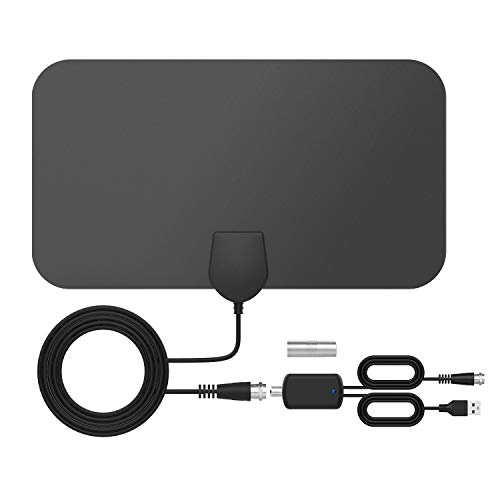 TICTID Indoor TV Antenna, Portable Digital HDTV TV Antenna with Smart Signal Amplifier, Support 4K 1080 HD / VHF / UHF, Suitable for All TV Types