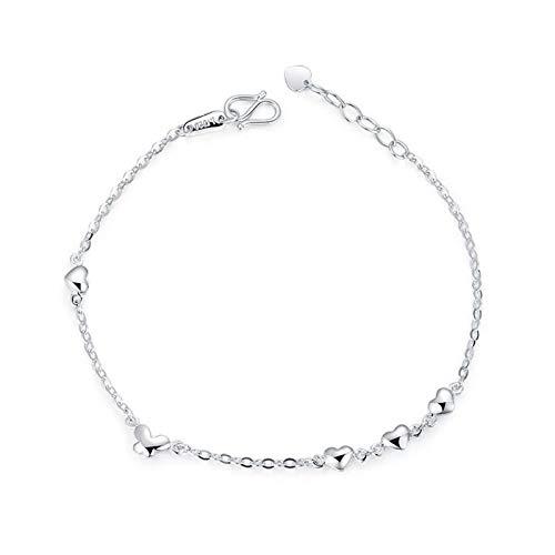 ANAZOZ Armband Damen Pt950 Platin Herz Charm Armbänder Armkette Schmuck für Frauen Silber