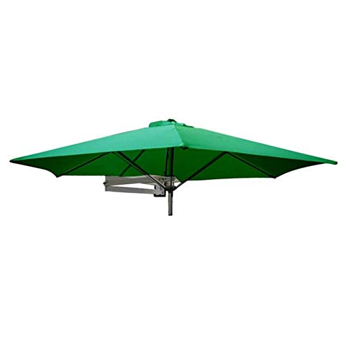 Parasols 8ft / 250cm Wall Balcony Patio Umbrella, Garden Wall Mounted Cantilever Tilting Sunshade Umbrella with Metal Pole (Color : Green)