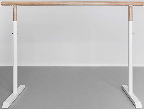 Barre de ballet muy estable base de metal blanco con madera de roble natural de 160 cm de ancho.