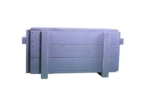 dekorie67 Truhe aus Holz sehr stabil schweden blau Shabby Vintage fertig montiert - 5
