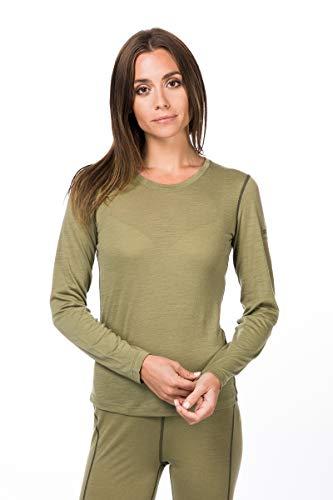 super.natural Base 140 T-Shirt à Manches Longues en Laine mérinos pour Femme M Bamboo/Killer Khaki