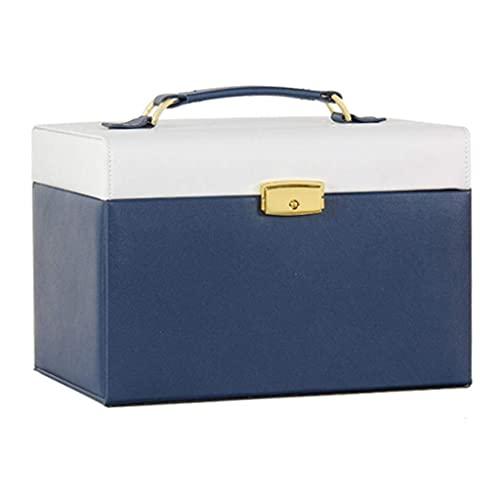 Caja de joyería con Cerradura de Cuero Cofre con Llave Mini Caja de Almacenamiento de Viaje para Collar Pendientes Anillos Caja de baratijas