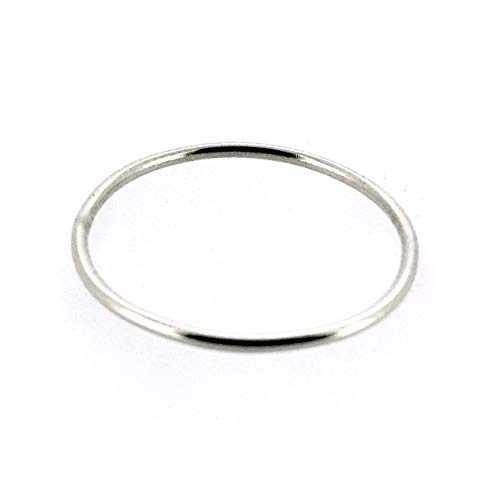 1mm Sterling Silver Skinny Round band Stacking Ring Polished Finish UK Size (S)