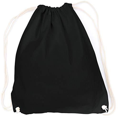 vanVerden - Turnbeutel aus Baumwolle - Schwarz blanko/unbedruckt - schwarzer Stoff-Beutel mit Kordelzug Verschluss