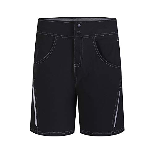 Womens Cycling Shorts Bicycle MTB Mountain Bike Baggy Shorts with Inner Liner 3D Padded Short Outdoor Sports Bottoms (Black-Z, L)