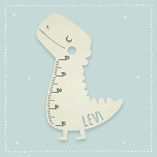 Messlatte Kind Größe Modell Dino Kinderzimmer-Messlatte/Tauf-Geschenk oder zur Geburt/Personalisiert mit Wunsch-Name für Mädchen oder Jungen Babyzimmer Design by HeLLo Mini