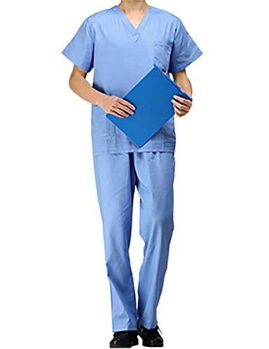 THEE Unisex Schlupfkasack Schlupfjacke+Schlupfhose Set Medizin Arzt Uniform Berufskleidung Krankenschwester Kasack Bekleidung,Blau-Herren,XL