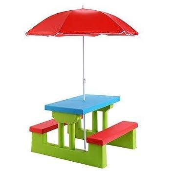 Everything Jingle Bell 4 Seat Kids Picnic Table w/Umbrella Garden Yard Folding Children Bench Outdoor