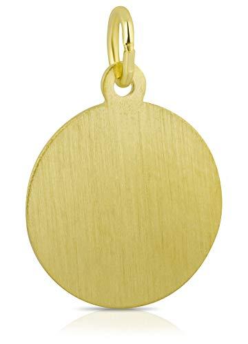 Gravurplatte Gelbgold 333 Gold 8k rund 14 mm Anhänger inklusive Gravur Kettenanhänger Ketten Goldschmuck