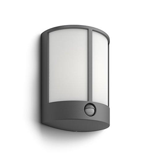 Philips myGarden Stock - Aplique con sensor de movimiento, iluminación exterior, aluminio, luz blanca cálida, color antracita