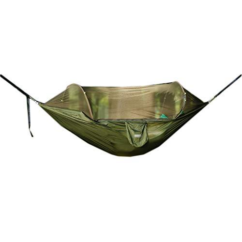 Hamac balançoire en Plein air Camping en Plein air hamac balançoire en Plein air Chambre Adulte moustiquaire Automatique Chaise Suspendue Accueil (Color : Green, Taille : 250 * 120cm)