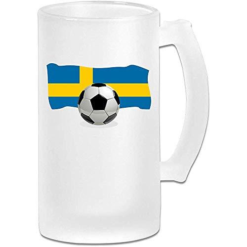 Voetbal met Zweden Vlag Frosted Glass Stein Beer Mok, Pub Mok, Drank Mok, Cadeau voor Bier Drinker, 500Ml (16.9Oz).