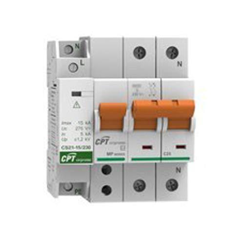 Conjunto Protector de sobretensiones permanentes, IGA 40A monofásico y Protector de sobretensiones transitorias, 15kA 1P (1+N), 10,5 x 6,5 x 8,5 centímetros, Color Blanco (Referencia: 77706397C)