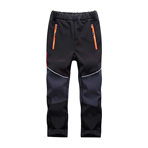 Asfixiado Kids Boys Girls Ski Waterproof Fleece Lined Soft Shell Pants Snow Insulated Windproof Winter Pants Hiking,Camping,Travel #1510 Black/Grey-S