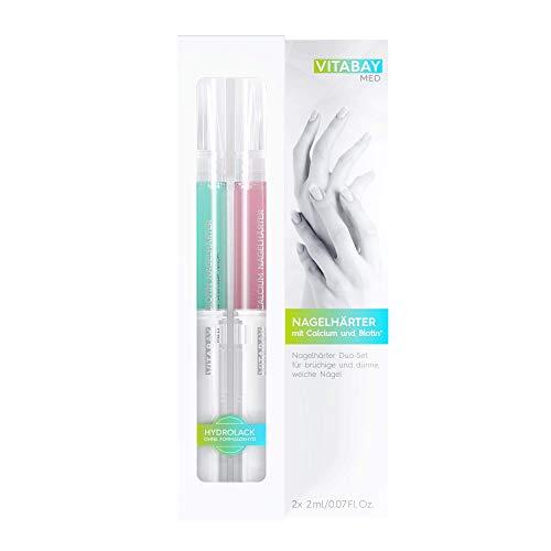 Vitabay Nagelhärter Duo-Set 2 x 2ml • Nagelpflegestift mit Calcium und Biotin • Extrastark • Brüchige Nägel