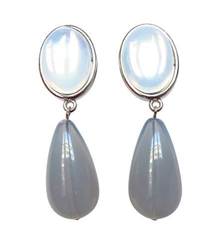 Silbrig-graue, leichte sehr große Ohr-Clips silber-farben Stein silbrig glänzend Anhänger blau-grau tropfen-förmig Designer JUSTWIN klassisch chic