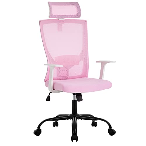 Ergonomic Office Chair Swivel Home Office Desk Chair with Head Pillow Breathable Mesh Backrest Adjustable Seat Height Firm Arm Rests Mesh Chair for Working and Resting (Pink)