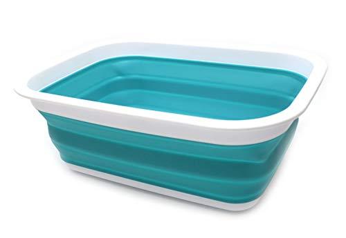 SAMMART 9.2L (2.37Gallon) Faltbare Badewanne - Tragbarer Picknickkorb/Krater - Faltbare Einkaufstasche - Platzsparender Aufbewahrungsbehälter (Hellblau)